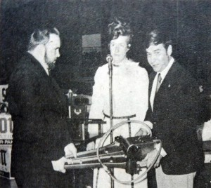 Whig Nov. 22 1972 first hurst tool with contribution from ladies auxiliary l to r Bill Baker, Ambulance Director, Rosemary Culley, Auxiliary, and Gene Meekins